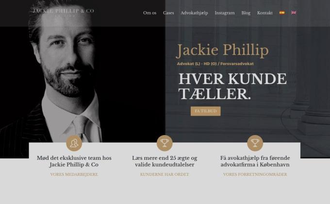 Nyt website til advokat Jackie Phillip designet og optimeret af Apely.com