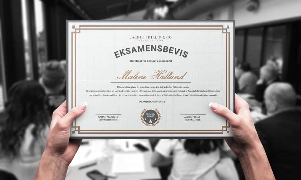 Board Institute Certifikat for betået bestyrelsesuddannelse