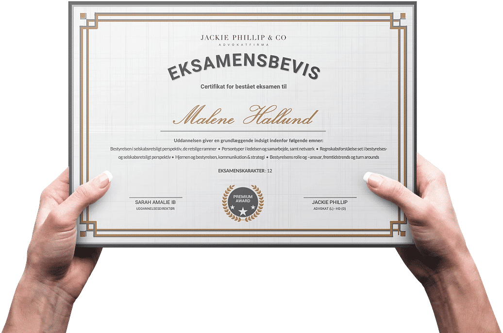 Uddannelsesbevis - Eksamineret certifikat til bestyrelsesuddannels